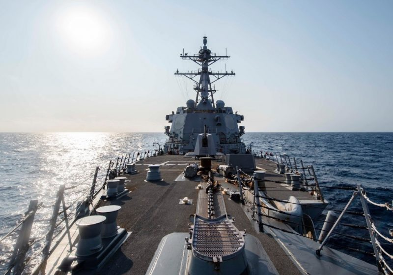"""USS McCampbell destroyer, armed with guided missiles, in the Taiwan Strait. The """"end of the American era"""" signals in the U.S. the transition to an era marked by the prospect of war with China."""