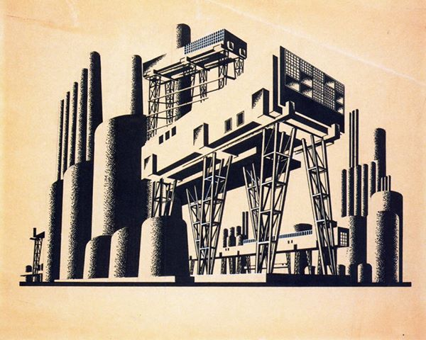 """""""Walking City"""", a project by """"de-urbanist"""" Iakov Chernikhov, inspired by Engels' """"Anti-Düring"""" in 1930. The """"de-urbanists"""" attempted a """"transitional urbanism"""" opposed to the logic of value. Their texts were banned and most of them were slaughtered by Stalinism."""