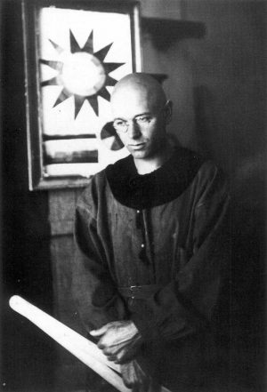 Johannes Itten at the Bauhaus wearing one of his self-designed uniforms.