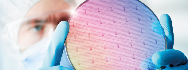 Silicon wafer showing the patterns formed by the microprocessors printed on it