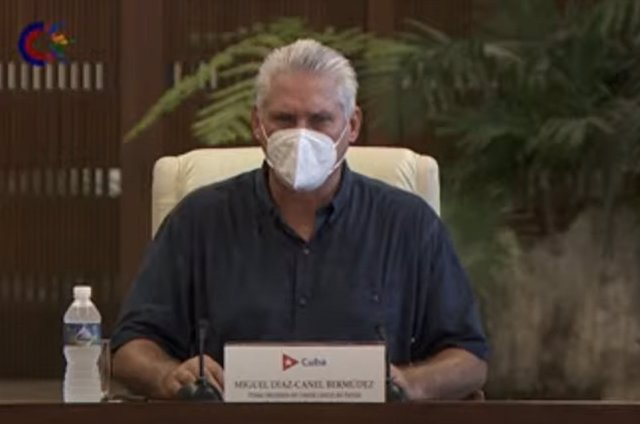 Díaz Canel in national TV reacts to the protests in Cuba