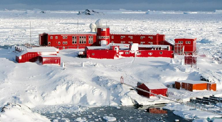 Chile's O'Higgins Base in Antarctica, across the Mar de Hoces/Drake Passage. Improvement, renovation and expansion work have started recently.